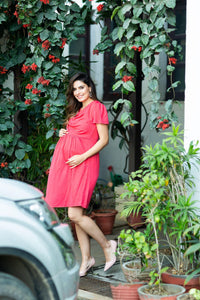 coral maternity dress with cowl neck_1