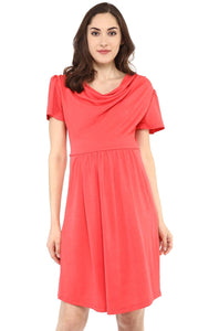 coral maternity dress with cowl neck_2