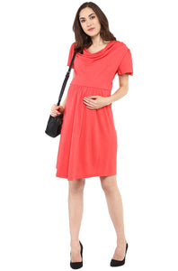 coral maternity dress with cowl neck_3