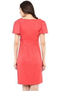 coral maternity dress with cowl neck_4