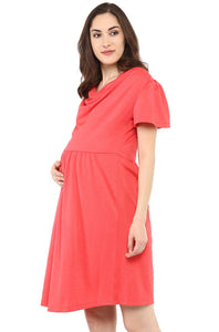 coral maternity dress with cowl neck_5