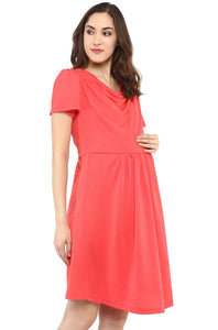 coral maternity dress with cowl neck_6