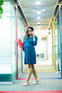 elegant green maternity dress_1