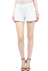 elegant white maternity shorts with black polka dots_2