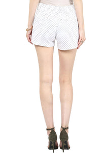 elegant white maternity shorts with black polka dots_3