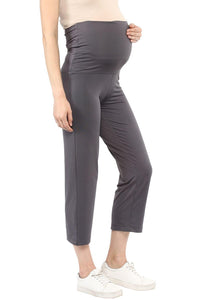 foldable maternity track pants in grey_5
