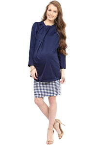formal maternity top in navy blue_2