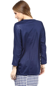 formal maternity top in navy blue_3