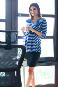 front cross maternity nursing top in navy blue stripes_1