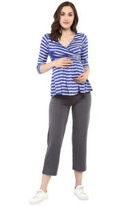front cross maternity nursing top in navy blue stripes_2