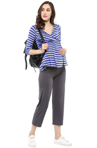 front cross maternity nursing top in navy blue stripes_3