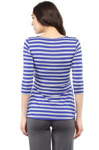 front cross maternity nursing top in navy blue stripes_4