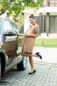 golden maternity dress with front knotted_1