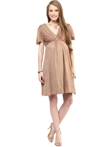 golden maternity dress with front knotted_2