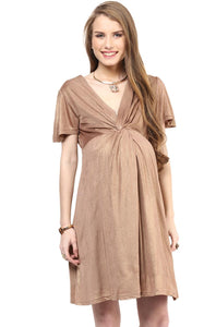 golden maternity dress with front knotted_3