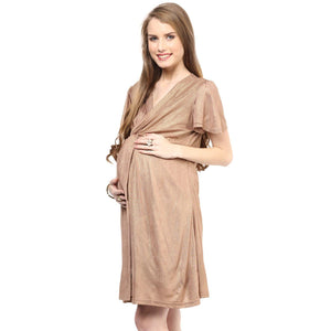 golden maternity dress with front knotted_4