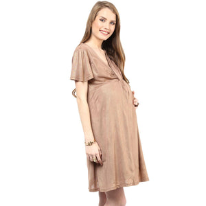 golden maternity dress with front knotted_5