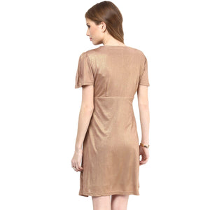 golden maternity dress with front knotted_6