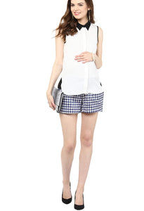 houndstooth print maternity shorts_2