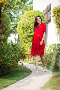 maternity dress in bright red chiffon_1