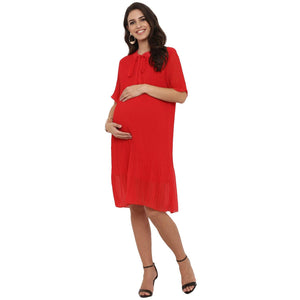 maternity dress in bright red chiffon_2