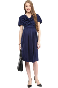 maternity dress in navy blue with cowl neck_2