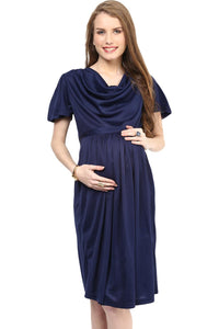 maternity dress in navy blue with cowl neck_3