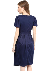 maternity dress in navy blue with cowl neck_4