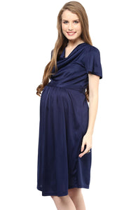 maternity dress in navy blue with cowl neck_5