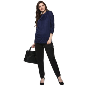 maternity pants for office wear in black_1