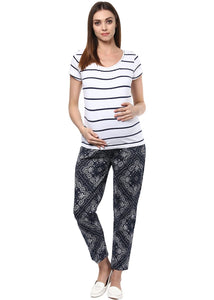 maternity pants printed in navy black & grey_1