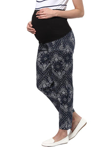 maternity pants printed in navy black & grey_4