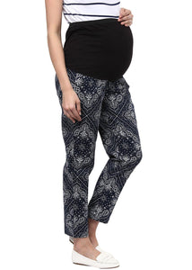 maternity pants printed in navy black & grey_5