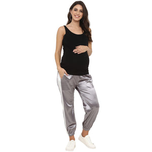 maternity satin silver track pants grey_2