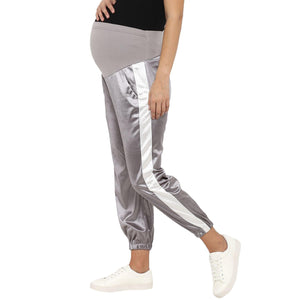 maternity satin silver track pants grey_4