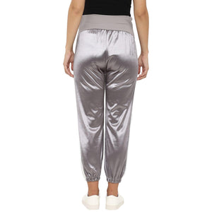 maternity satin silver track pants grey_5