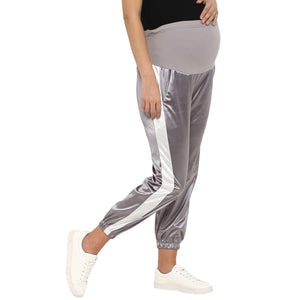 maternity satin silver track pants grey_6