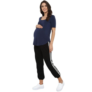 maternity track pants in black with side stripe_1