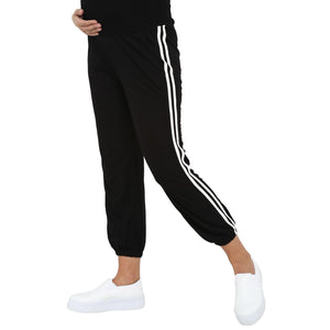 maternity track pants in black with side stripe_3