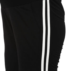 maternity track pants in black with side stripe_6