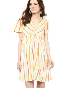 multicolor maternity dress front knotted_1
