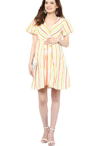 multicolor maternity dress front knotted_2