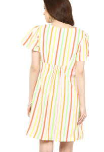 multicolor maternity dress front knotted_3