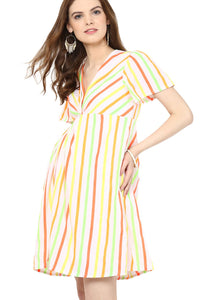 multicolor maternity dress front knotted_4