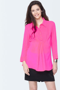 pin tuck pink formal maternity shirt_1
