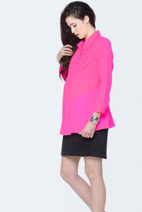 pin tuck pink formal maternity shirt_4