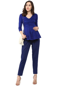 pregnancy pants in navy blue formal office wear_1