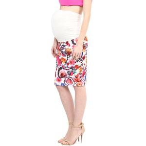 Maternity Skirt Pink Printed