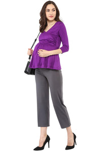 purple front cross maternity cum nursing top_3