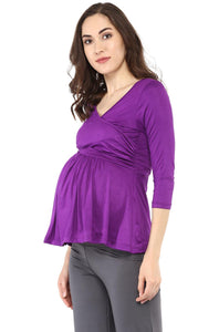purple front cross maternity cum nursing top_5